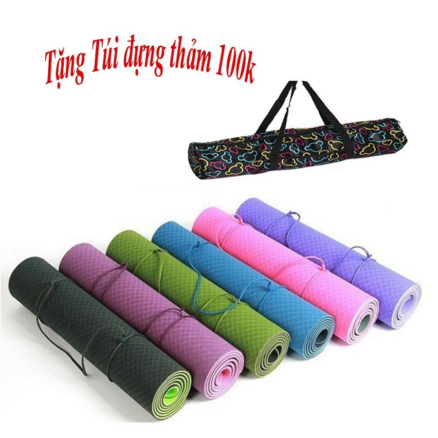 [Free Ship] Thảm Yoga TPE 2 Lớp 6mm + Túi Đựng Thảm