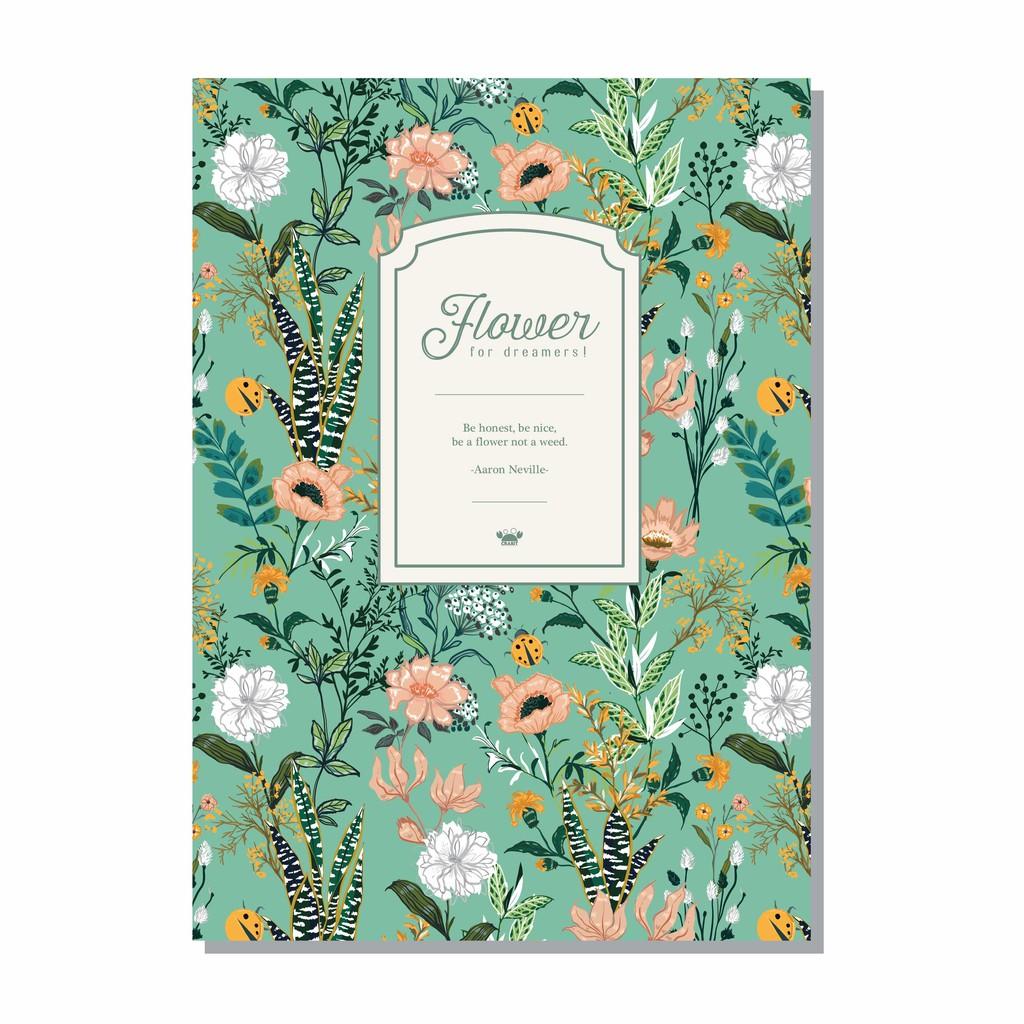 [Mã SKAMSALE10 giảm 10% đơn 200K] Vở kẻ ngang Flower Hoa xanh - 80 trang