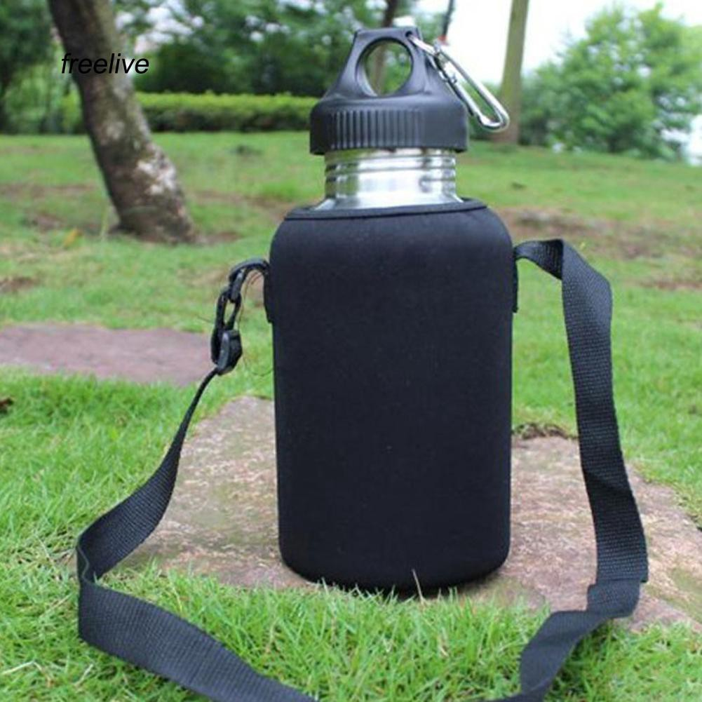 FLE_2L/2000ml Travel Stainless Steel Tea Water Bottle Carrier Insulated Bag Holder