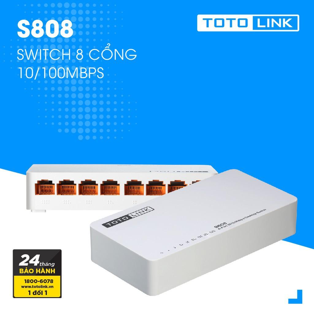 [Nhập ELCLMAY hoàn 30K xu đơn từ 200K]Switch 8 cổng 10/100Mpbs – S808 – TOTOLINK Giá chỉ 104.000₫