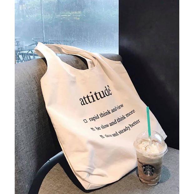 [HOT NEW] Túi tote vải trắng chữ đen - Túi xách đeo chéo nữ SIÊU ĐẸP
