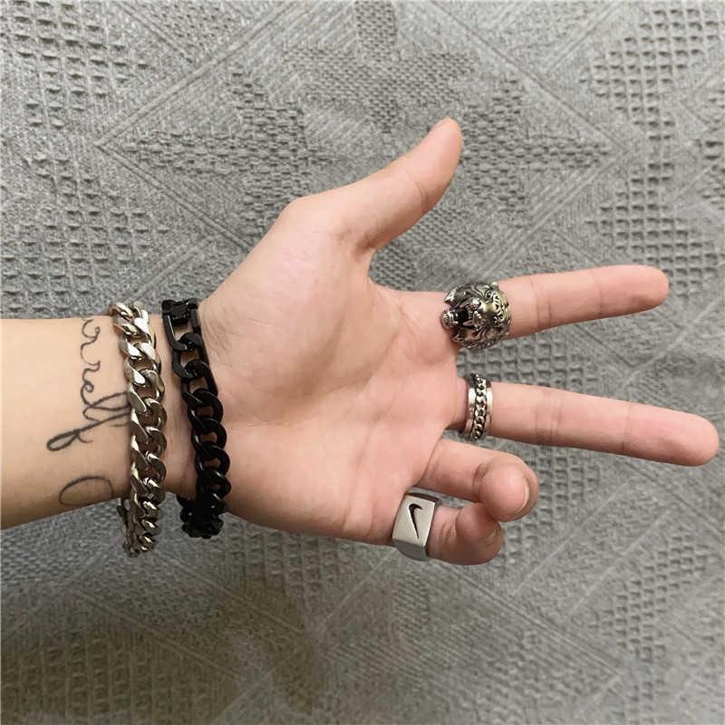 Vòng đeo tay dây chuỗi thép titan màu bạc phong cách hip hop thời trang cho nam