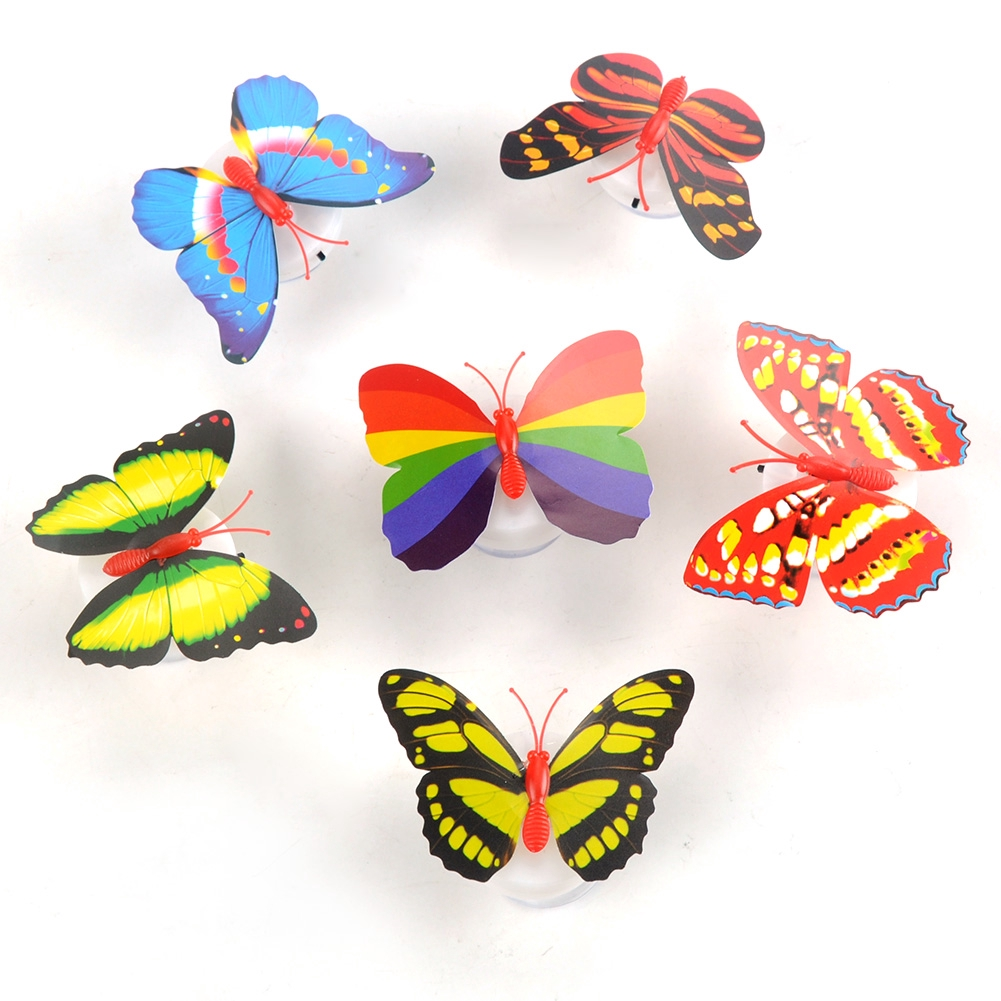 10Pcs LED Lovely Color Changing Colorful Romantic Butterfly Night Light Lamp