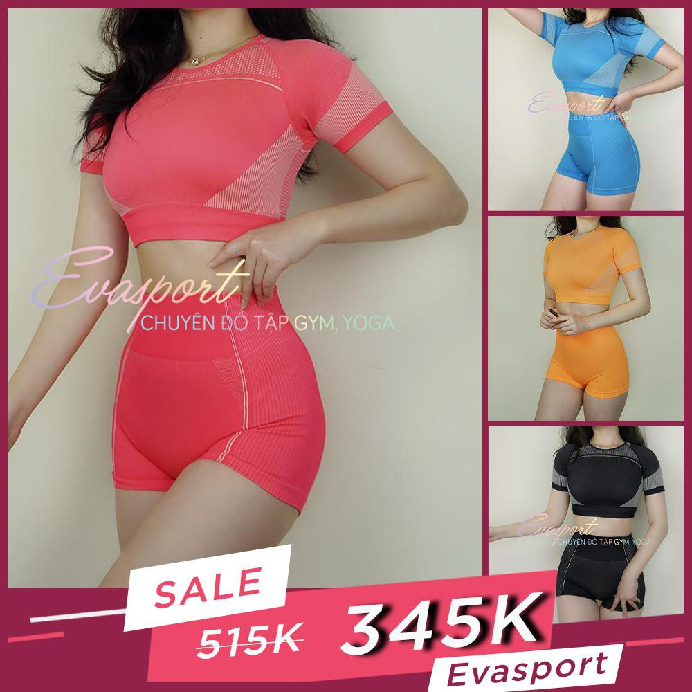 Bộ đồ tập Gym nữ ngắn, quần đùi áo croptop tập gym Yoga thể thao vải dệt kim - Eva Sport