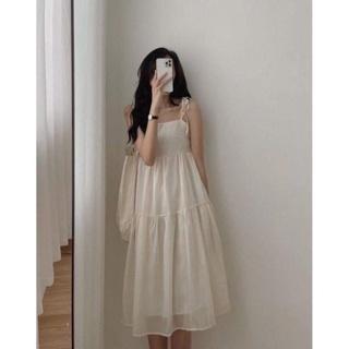 Đầm hai dây váy 2 dây vải voan mềm mịn - váy suông nữ thiết kế dáng váy maxi có dây buộc vai tùy chỉnh thumbnail