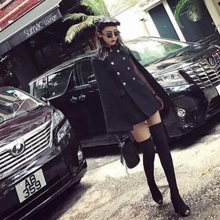 Áo cape, áo choàng nữ, tay cánh dơi, chất liệu dạ mịn cao cấp. thumbnail
