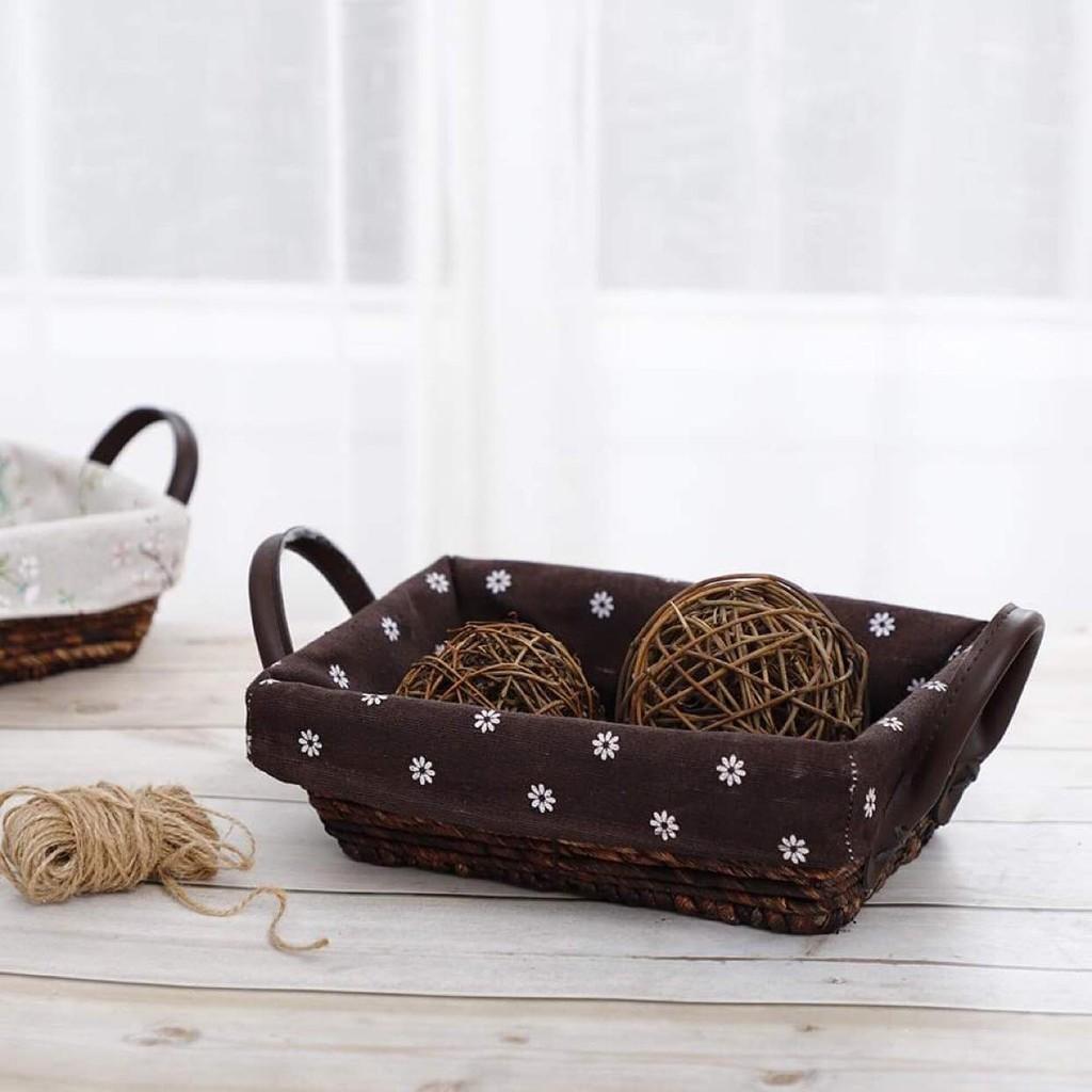 Giỏ mây đựng đồ để bàn/đựng hoa quả quai da sang trọng, tiện dụng
