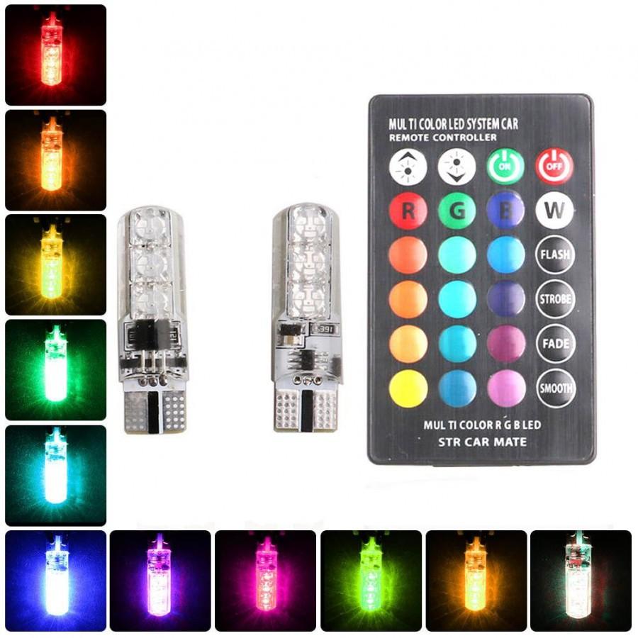 Đèn LED điều khiển từ xa demi gắn xi nhan xe máy, Oto - LED chân T10 bảy màu