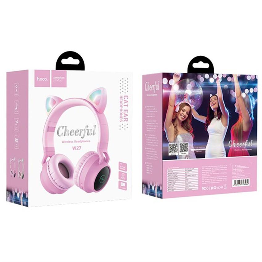 Tai nghe Headphone Bluetooth Hoco W27 V5.0 hỗ trợ mic, tai mèo, tương thích nhiều thiết bị