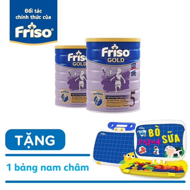 (HCM) Combo 2 lon Sữa bột Friso Gold 5 lon 1500g tặng 1 bảng học