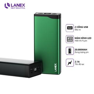 Pin dự phòng Lanex LPB-N20 2 cổng USB 2.1A, 20000mah, màn hình led, tương thích nhiều thiết bị thumbnail
