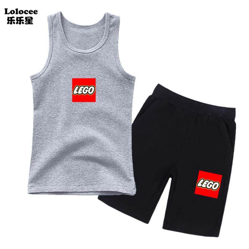 Bé trai 3-14 tuổi Bộ quần áo Lego Ninjago Bé trai Phim hoạt hình Xe tăng không tay và quần đùi 2 chiếc Bộ quần áo Bộ đồ đi phượt cho bé trai