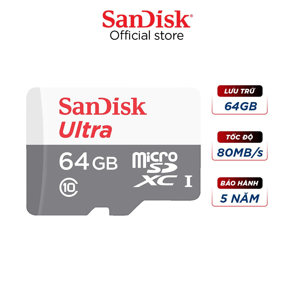 Thẻ nhớ micro SDXC Sandisk 64GB upto 80MB/s 533X Ultra UHS-I