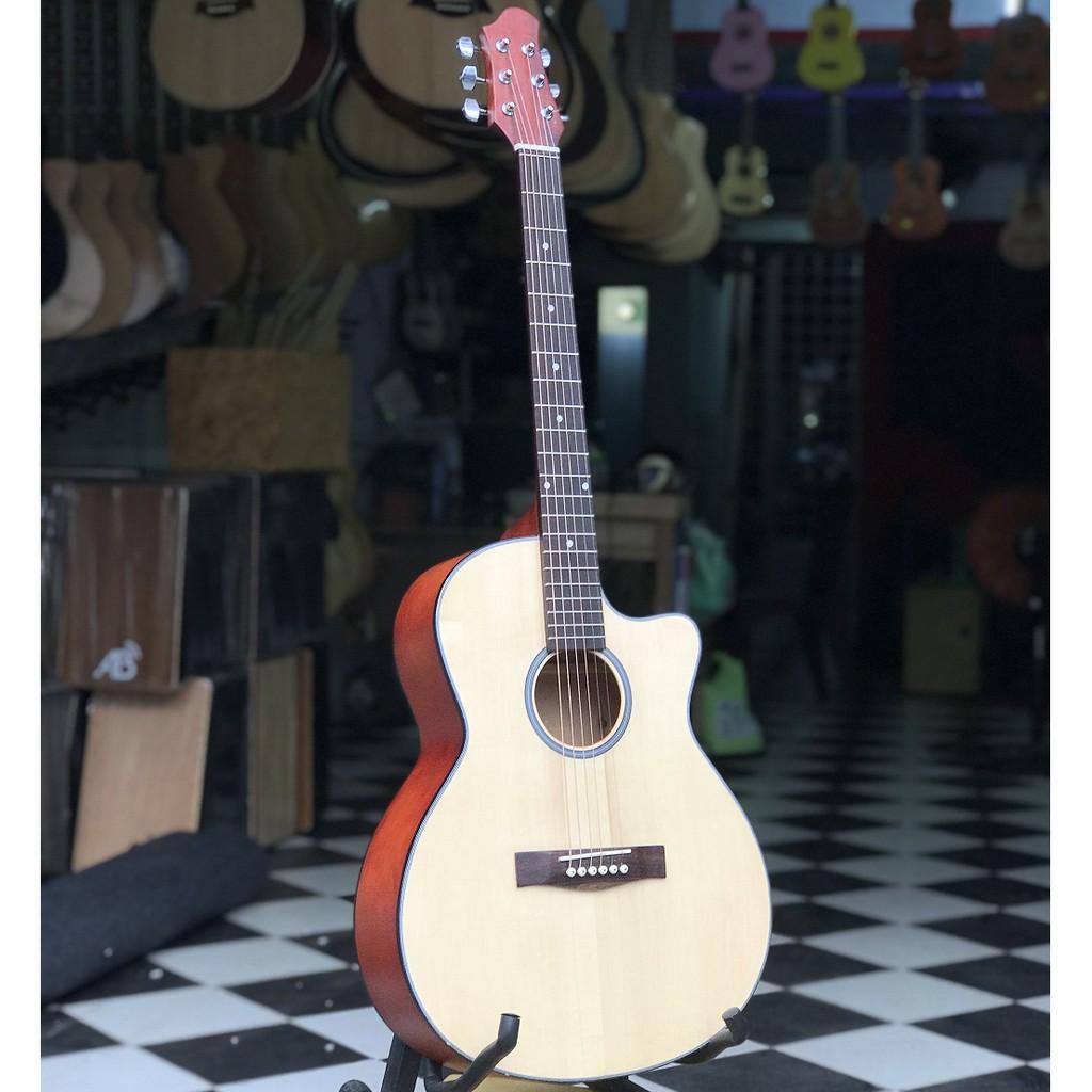 đàn ghita acoustic màu gỗ tự nhiên