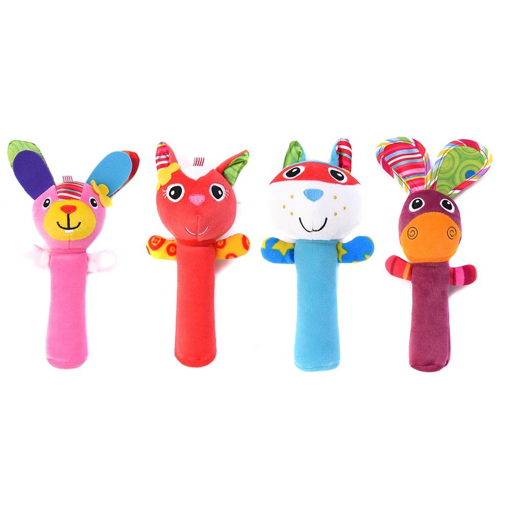 COD✌COD✌Cute plush stuffed animal baby rattle sizzling stick toy