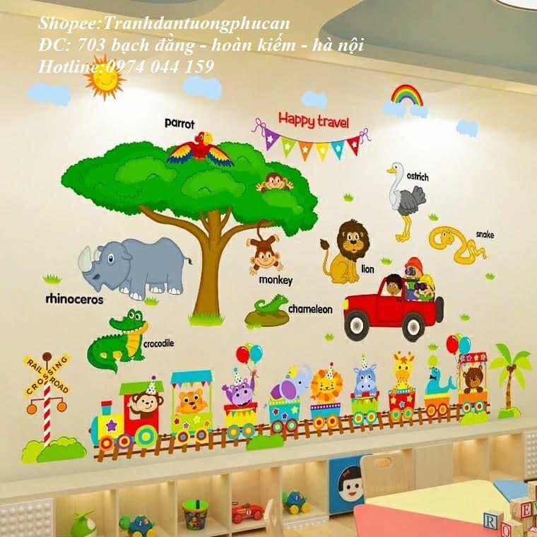 Decal dán tường combo vườn thú và đoàn tàu cho bé - 3039122 , 277825639 , 322_277825639 , 75000 , Decal-dan-tuong-combo-vuon-thu-va-doan-tau-cho-be-322_277825639 , shopee.vn , Decal dán tường combo vườn thú và đoàn tàu cho bé