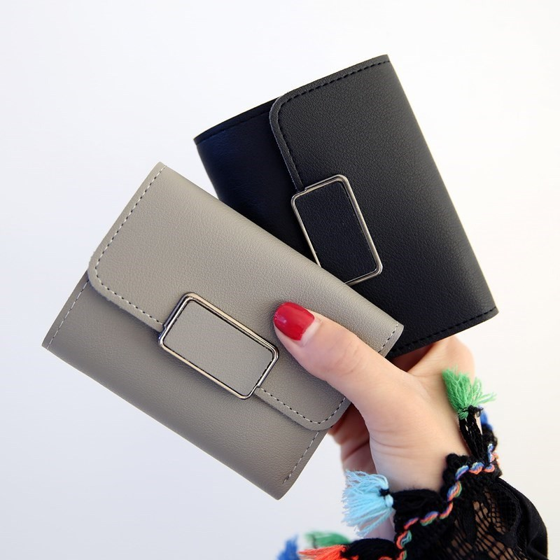 Bóp ví ngắn nữ cầm tay khóa vuông xinh xắn