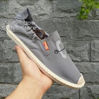 Slip on nam 2019 - Giày lười vải nam cao cấp Champion - Vải polyester màu (xám) - Mã SP 2923 thumbnail