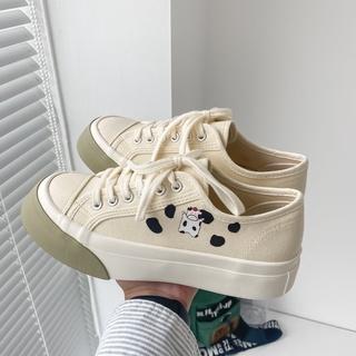 Giày Vải Canvas Cổ Thấp Cột Dây Thời Trang Cho Nữ thumbnail