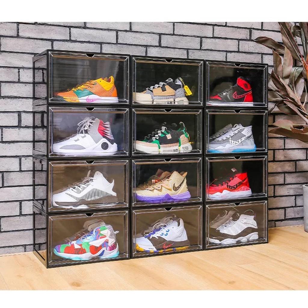 Hộp Đựng Giày PP Form Ngang - 100% Nhựa PP Cứng / 2 Màu Đen, Trong Suốt