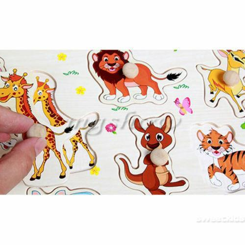 SK★-NEW Zoo Animals Wooden Puzzle Toys Children Kids Baby Learning Education