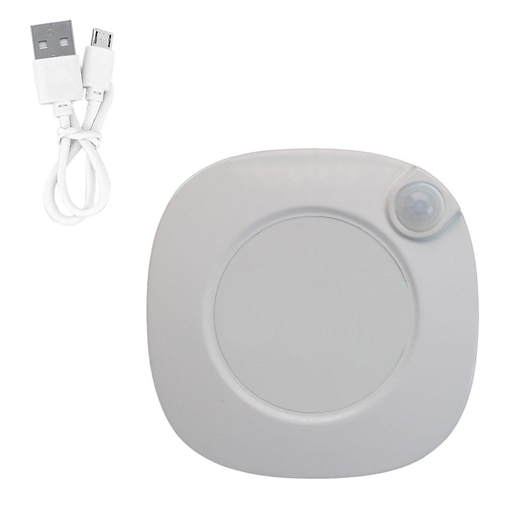 Đèn LED cảm biến chuyển động ánh sáng trắng kèm đồng hồ báo thức có thể sạc  lại bằng cổng USB - Đèn