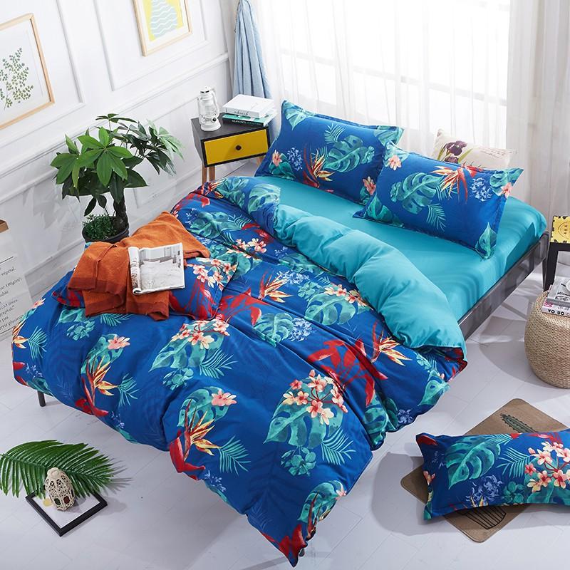 Bộ đồ giường gồm vỏ chăn + ra trải + 1/2 áo gối in họa tiết hoa lá trang nhã