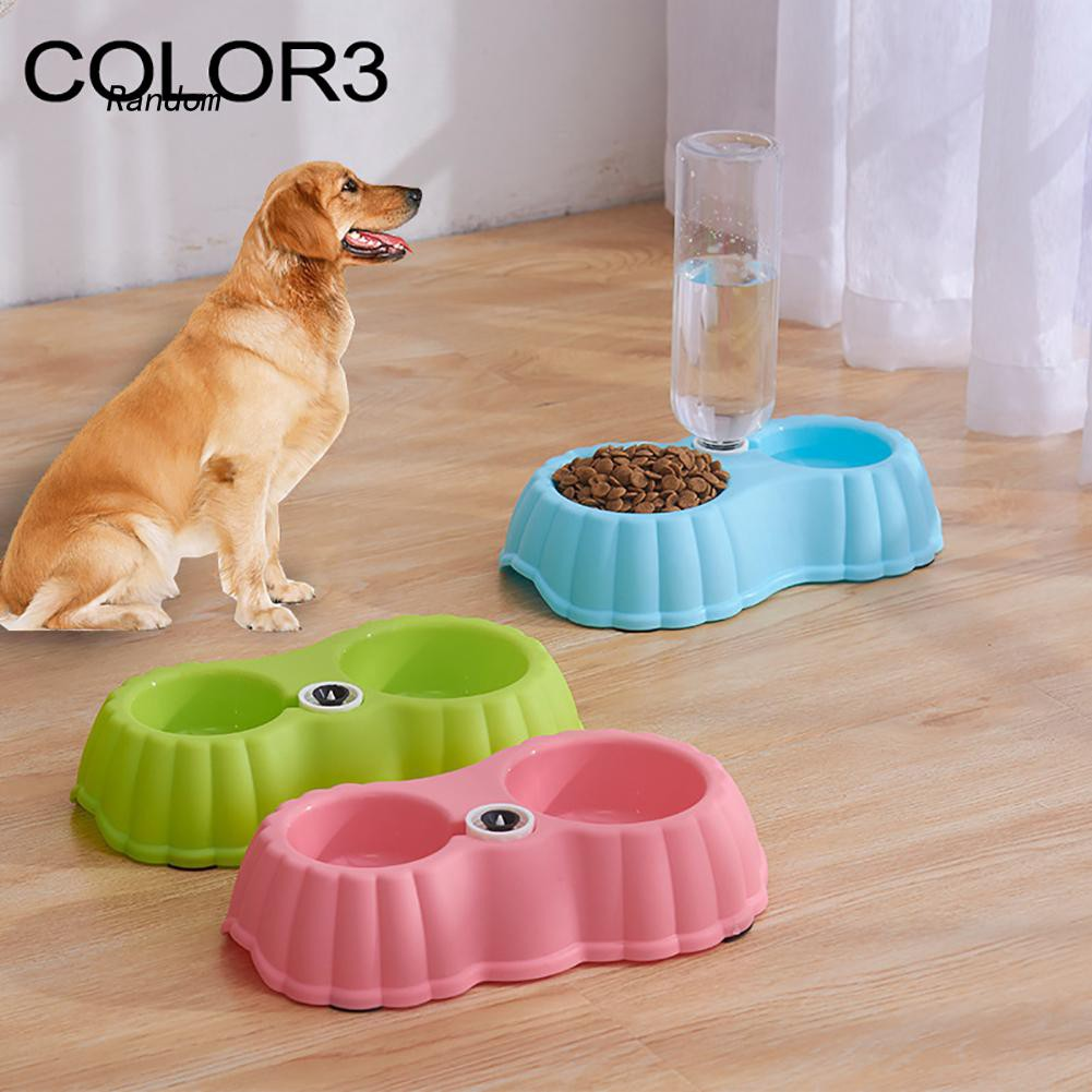 [RA]Dual Bowl Plastic Cat Kitten Dog Puppy Feeder Non-Slip Pet Food Water Container