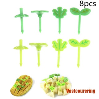 VAing 8pcs Fruit Fork Toothpick Leaves Lunch Box Bento Salad Tiny Fork Cake For