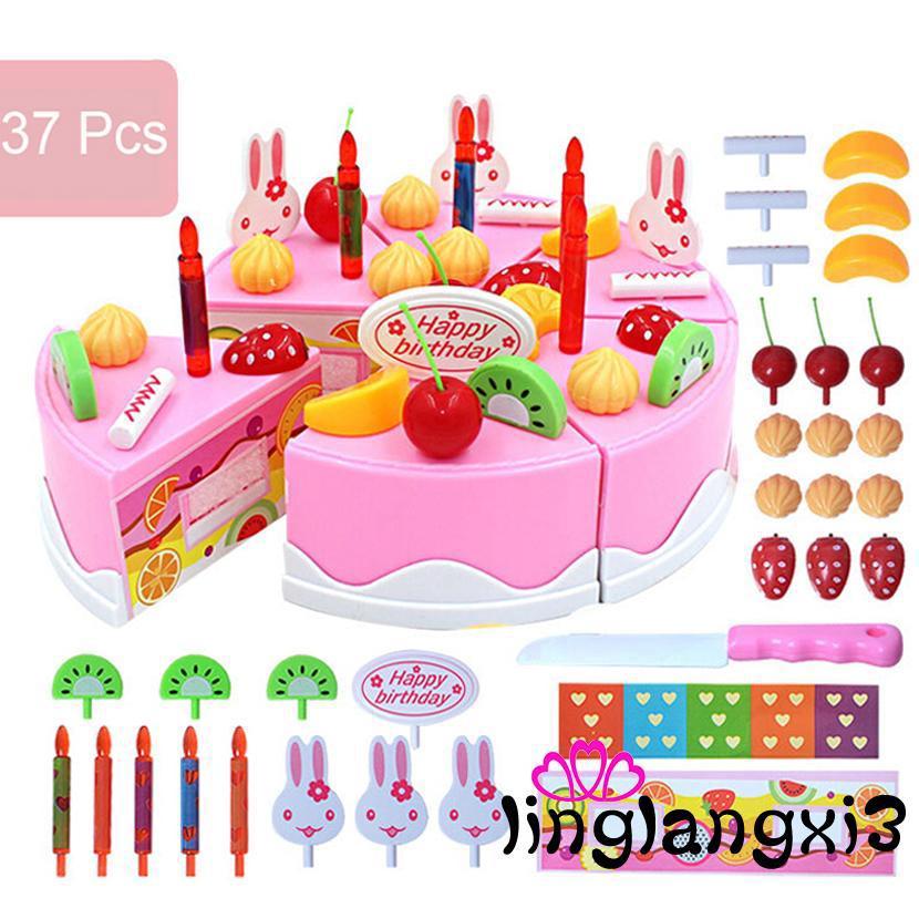 IXN-37PCS/Set DIY Birthday Cake Model Toy Play Food Child Kids Early
