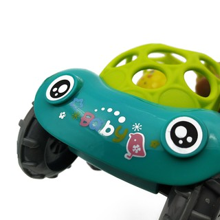 Babies Grasping Flexible Glue Freewheeling Latex Toy Car with Colorful Balls