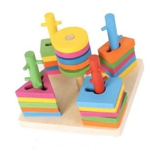 [Mã TOYJAN hoàn 20K xu đơn 50K] Bộ thả hình 5 cột khối - Đồ chơi giáo dục gỗ an toàn cho bé thumbnail