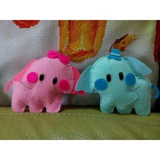 Vải nỉ handmade Cặp voi hồng xanh couple cực đáng yêu – tặng vòng choker