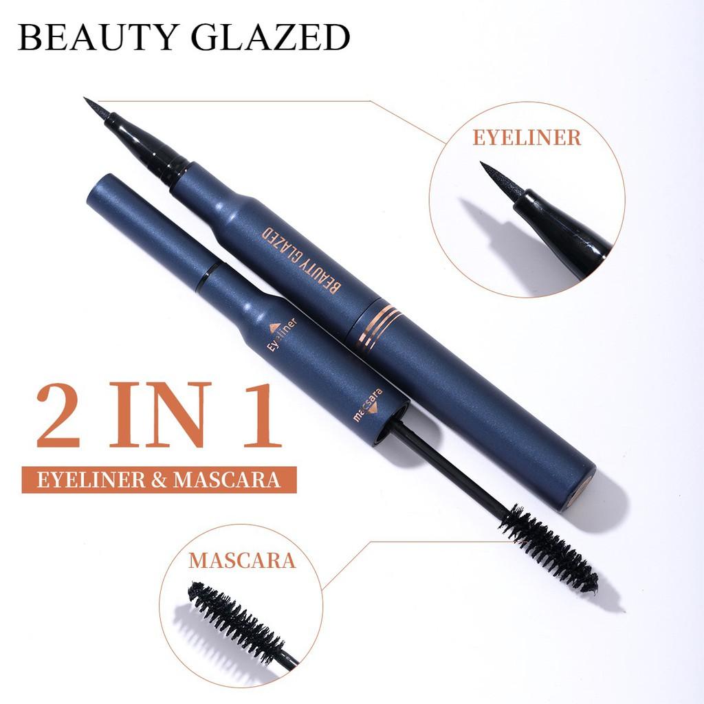 Bút kẻ mắt và Mascara chống nước 2 trong 1 màu đen dễ sử dụng lâu trôi BEAUTY GLAZED