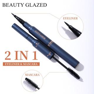 BEAUTY GLAZED Dễ dàng trang điểm Bút kẻ mắt và Mascara chống nước 2 trong 1 màu đen lâu trôi