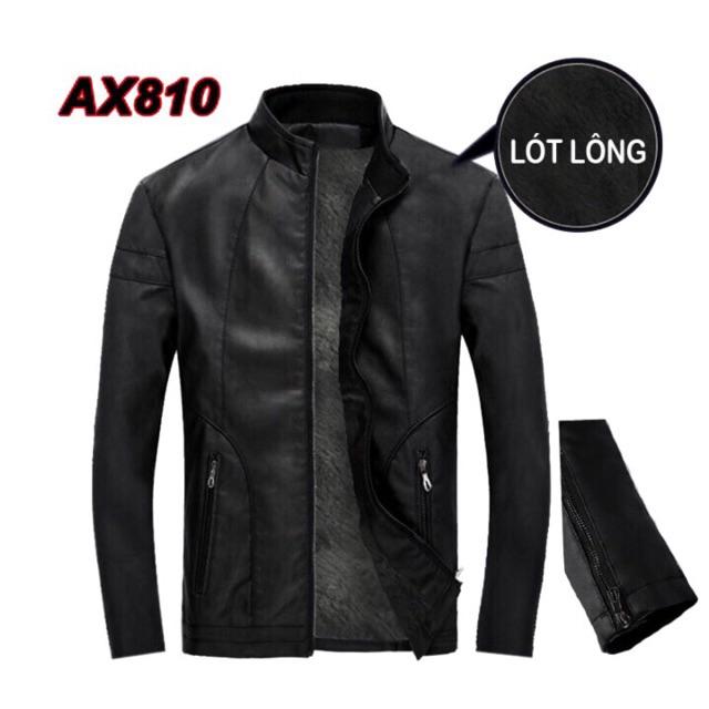 Áo Khoác da nam lót lông  Bonado chuẩn phong cách Hàn quốc AX810 (đen)