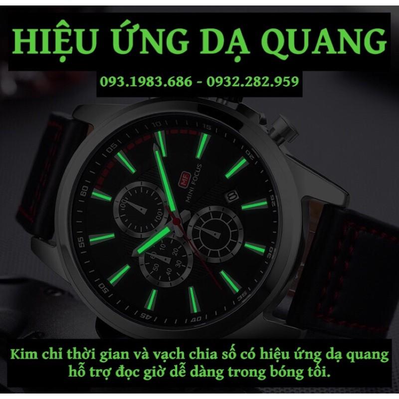 Đồng Hồ Nam MINI FOCUS MF0129G.04 Dây Da Đỏ Viền Đen Chống Nước 6 Kim Đẹp Cao Cấp - TIGO