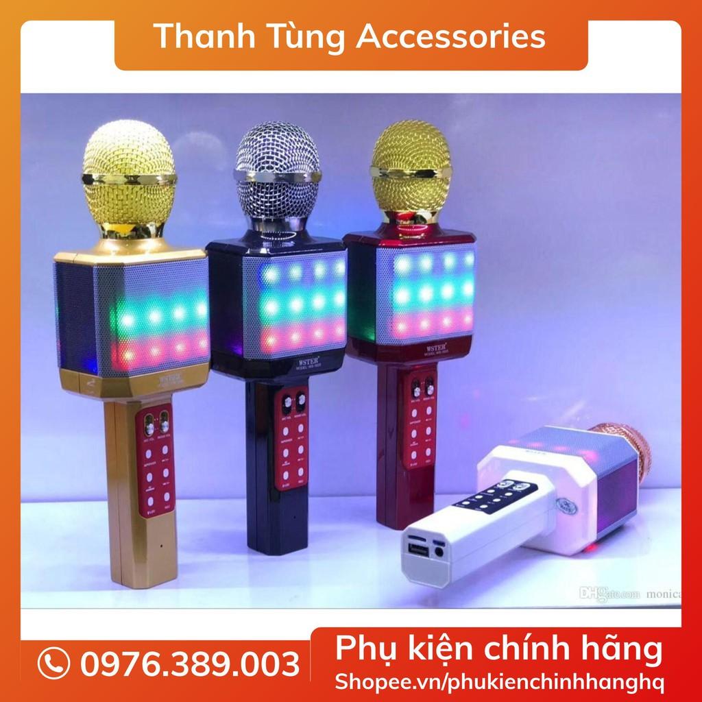 Micro Karaoke WS-1828 Kèm Loa Hát Có Đèn Led - Mic Karoke Bluetooth Có Led Kèm Loa