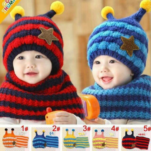 Combo sỉ 10 bộ Mũ Len Ốc sên kèm khăn ống cho bé yêu.