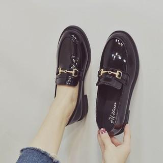 Giày đốc cổ thấp nữ thời trang hàn quốc quai xích da bóng cực hót của năm