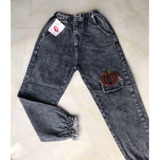 Quần jeans baggy hình bí đỏ siêu mịn