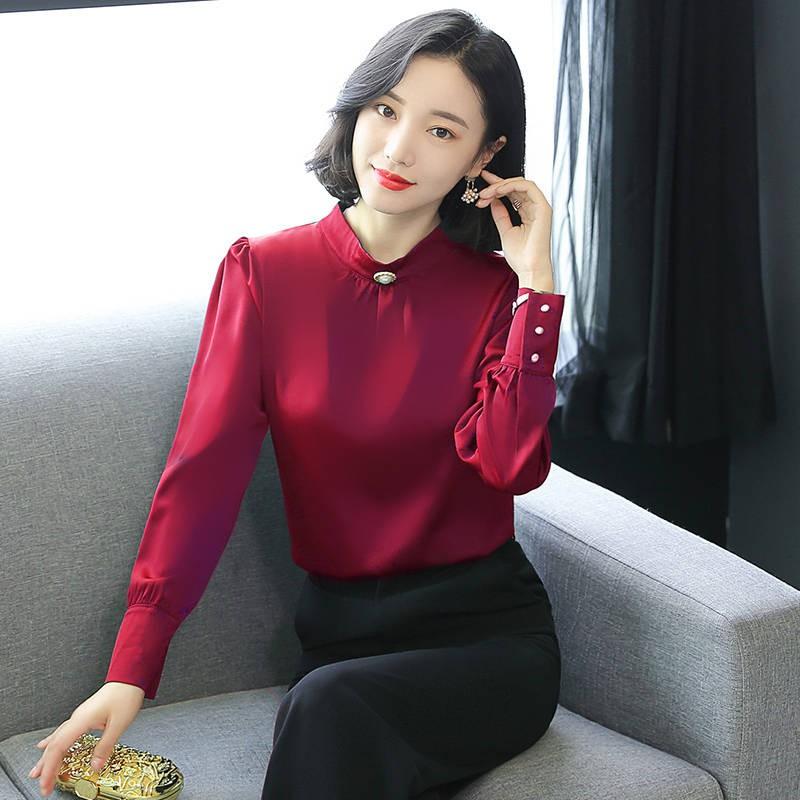 พี่ชายของสหรัฐและยุโรป Fei Fei เสื้อเชิ้ตผ้าไหมหญิงเสื้อแขนยาว 2019 ฤดูใบไม้ร่วงใหม่ของผู้หญิงเสื้อไหมผ้าไหม bottoming