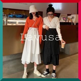 Chân váy ulzzang tầng dáng dài xòe nữ đen trắng, chân váy style Hàn Quốc