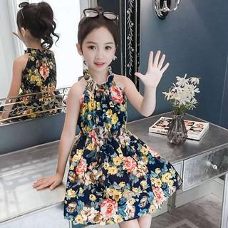 (E075) Đầm hoa bé gái sang chảnh không tay bo chun xếp nhiều tầng chất liệu thoáng mát mẫu mới siêu thời trang hot