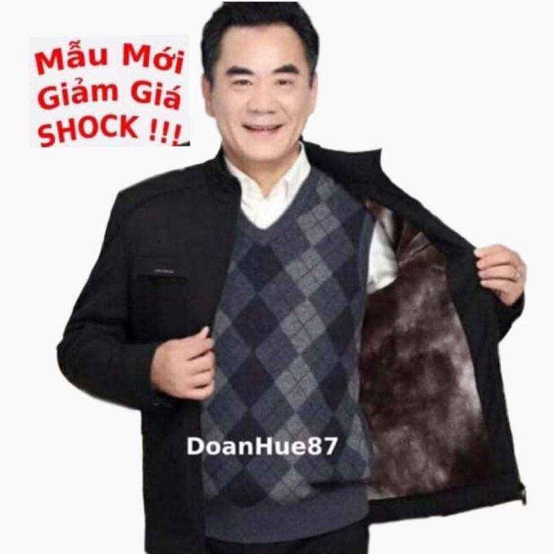 Áo khoác nam trung niên lót lông chống gió chống nước siêu ấm tặng người thân