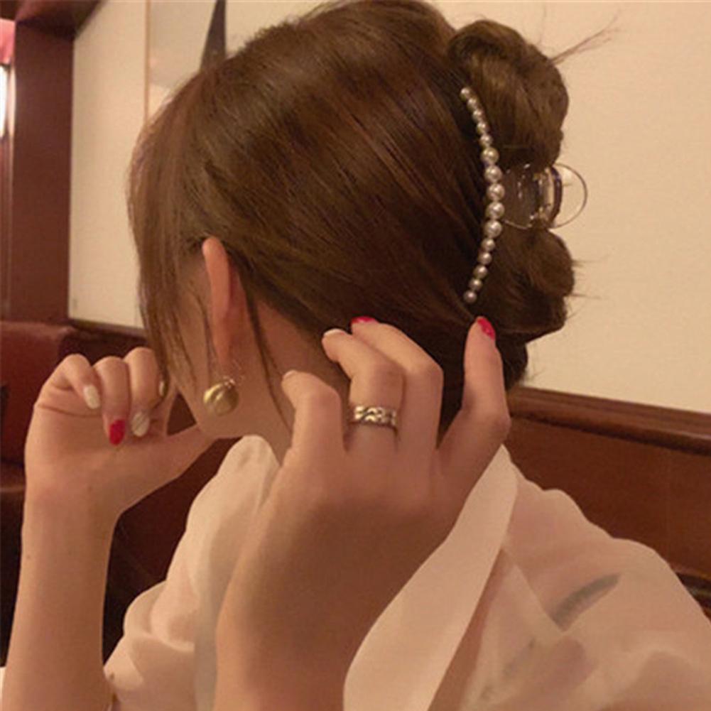 Kẹp tóc càng cua bằng acrylic đính ngọc trai giả thời trang cho nữ