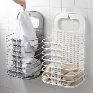 Giỏ nhựa đựng quần áo treo tường có thể gấp gọn tiết kiệm không gian - hàng loại 1 thumbnail