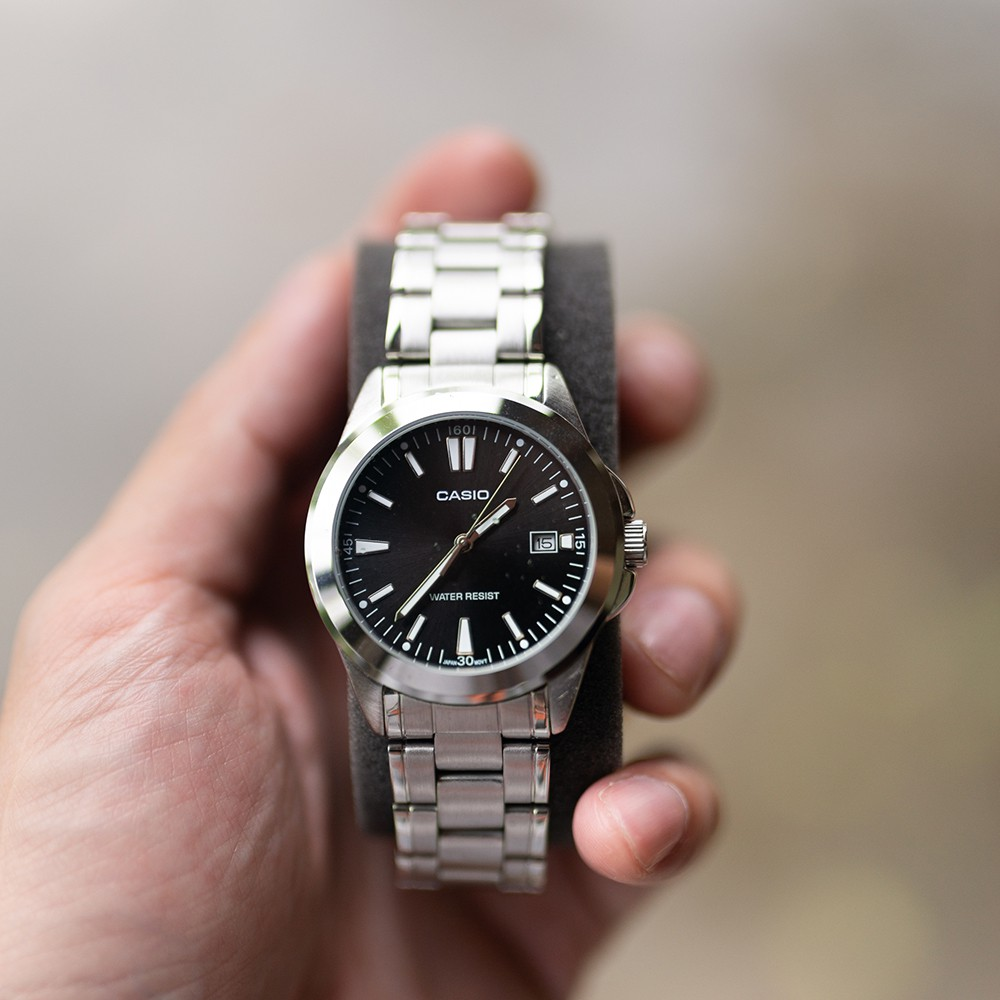 Casio นาฬิกาข้อมือผู้ชาย สีเงิน/ดำ สายสแตนเลส รุ่น MTP-1215A-1A2DF