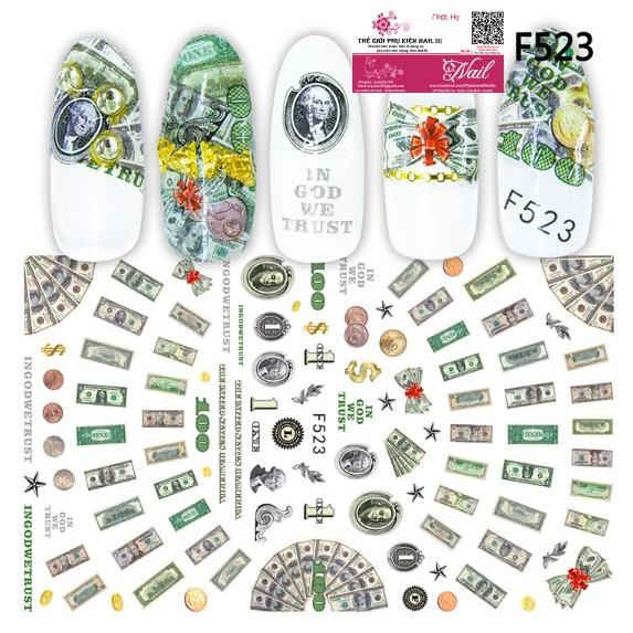 Nail Sticker Tiền Đô La USD - Hoa Văn Hình Tiền theo Phong cách châu Âu và Mỹ