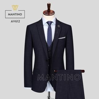 Bộ Vest Xanh Đen Kẻ Chìm AV612 – MANTINO